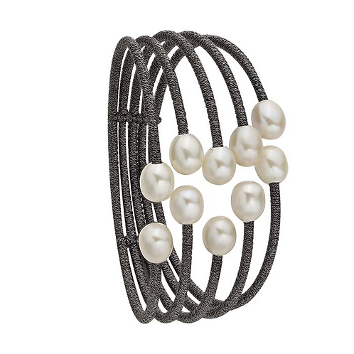 Steel Cord Wrapped Cuff Bracelet with White Pearls or Raven's Wing Pearls