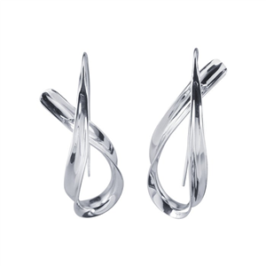 Sterling Silver Continuous Ribbon Earrings