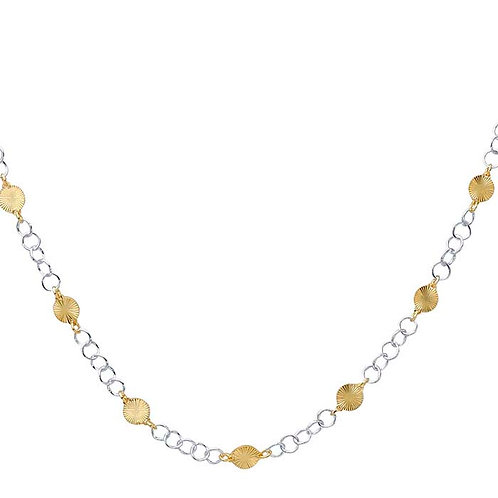 Sterling Silver Cable Chain with Yellow Gold-Plated Patterned Round Links