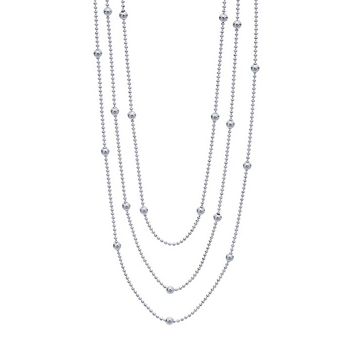 Sterling Silver 3-Strand Necklace w/ Bead Accents