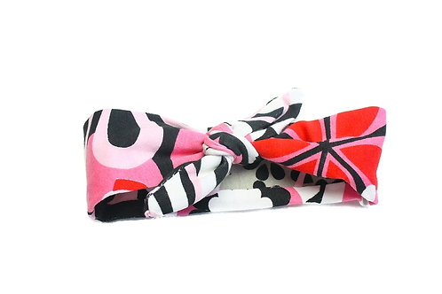Pink/Black Floral Knotted Headband