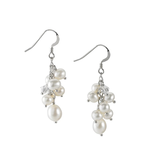 Silver Earrings w/Pearls & Swarovski Crystal Beads