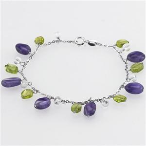 Sterling Silver Bracelet -Amethyst, Quartz,Peridot