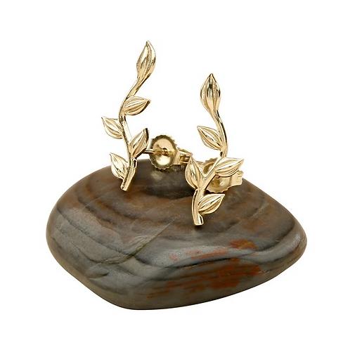 14 Karat Yellow Gold Leaves Ear Climber Earrings