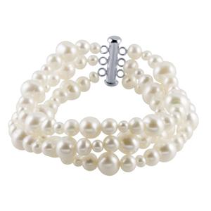 White Freshwater Pearl Three Strand Bracelet
