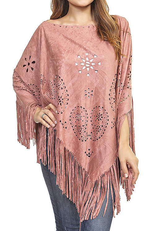 Fringed Lasercut Geometric Design Poncho