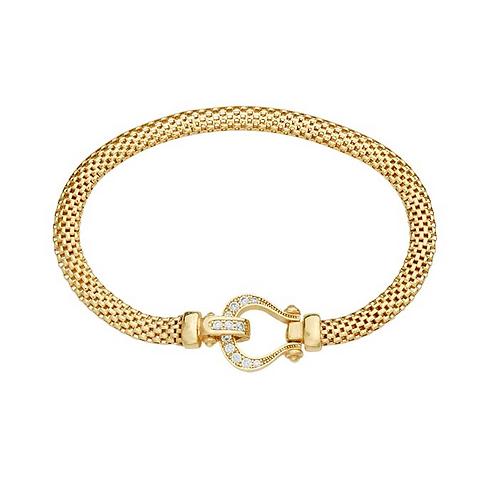Silver Gold-Plated Bracelet w/CZ Buckle Clasp