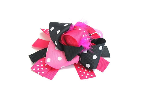 "Black & Hot Pink Polka Dot/5.5"" Feather Korker Bow"