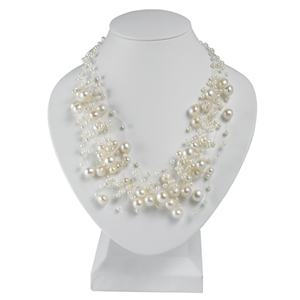 14-Strand Necklace w/White Freshwater Pearls