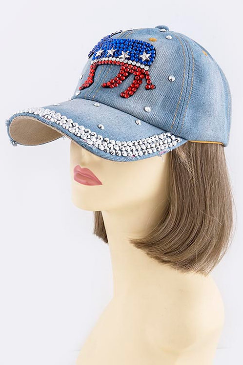 Democratic Donkey Studded Design Cap