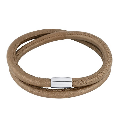 Nappa Leather Double-Wrap Bracelet with Magnetic Clasp
