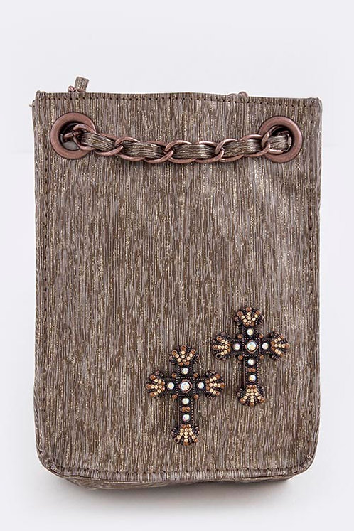 Mini Crystal Cross Studded Cellphone Purse