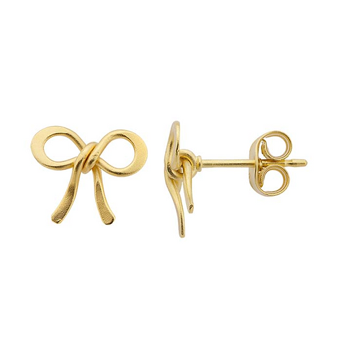 24K Yellow Gold-Plated Silver Bow Post Earrings