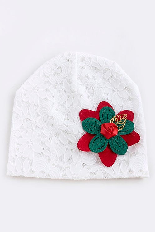 Christmas Floral Lace Girls Beanie