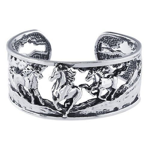 Silver Cuff Bracelet With Running Horses