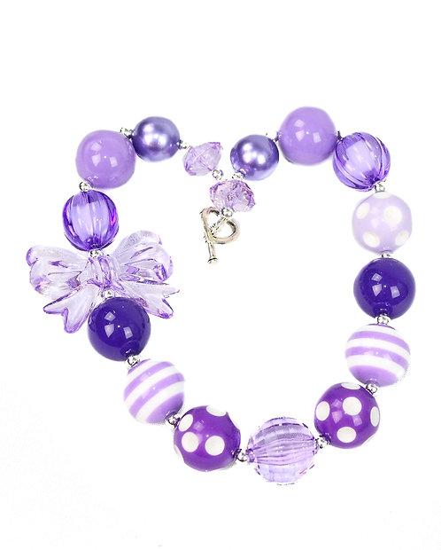 Purple Bow Necklace