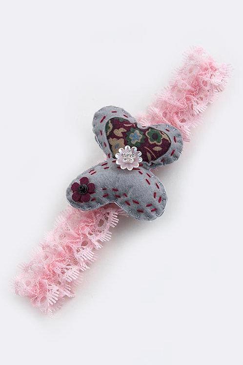 Felt Butterfly Girls Lace Headwrap - 6 Colors