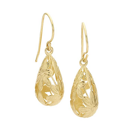 14K Gold Hollow Flowers Pattern Teardrop Earrings