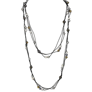 Endless Freshwater Pearl and Wax Cotton Necklace