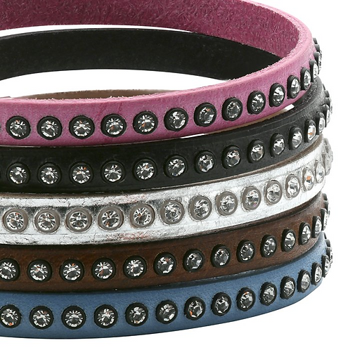 Flat Leather Bracelet w/ CZs & Silver Clasp
