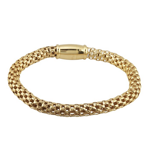 Sterling Silver Gold-Plated Open Mesh Bracelet