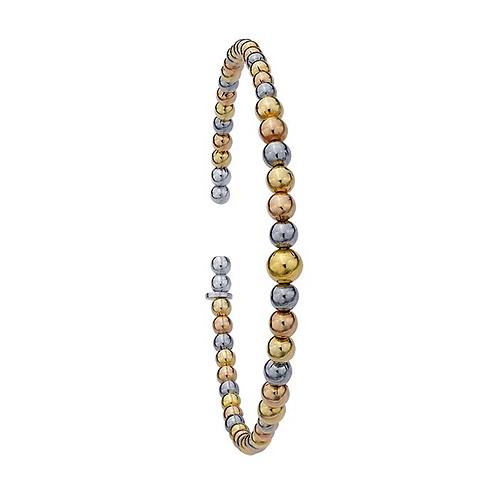 Sterling Silver Multi-Color Beaded Cuff Bracelet