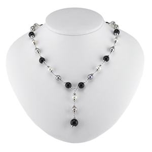 Sterling Silver Necklace w/ Pearls and Onyx Beads