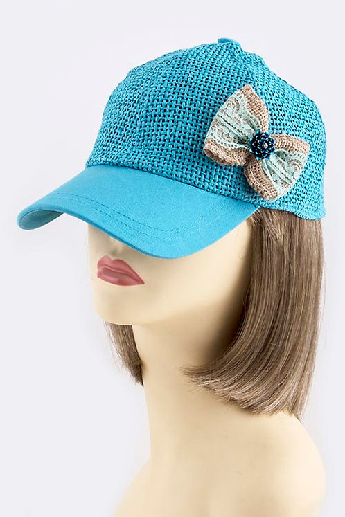 Lace Bow Accent Straw Cap
