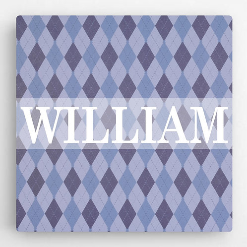 Personalized Pattern Boys Canvas Sign