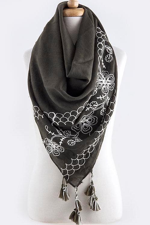 Crochet FLoral Design w/Tassel Drop Scarf