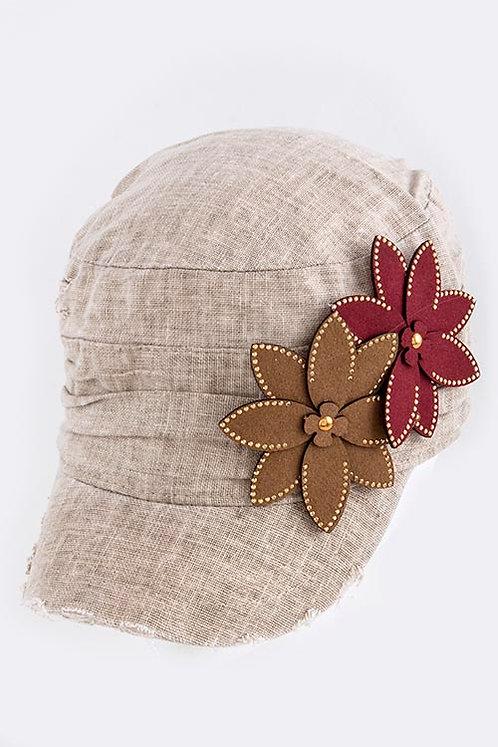 Metal Beaded Floral Accent Short Brim Cap
