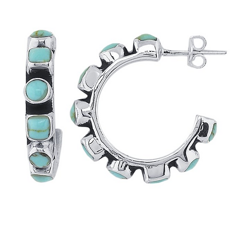 Sterling Silver Natural Turquoise Hoop Earrings