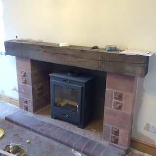 New sandstone fireplace