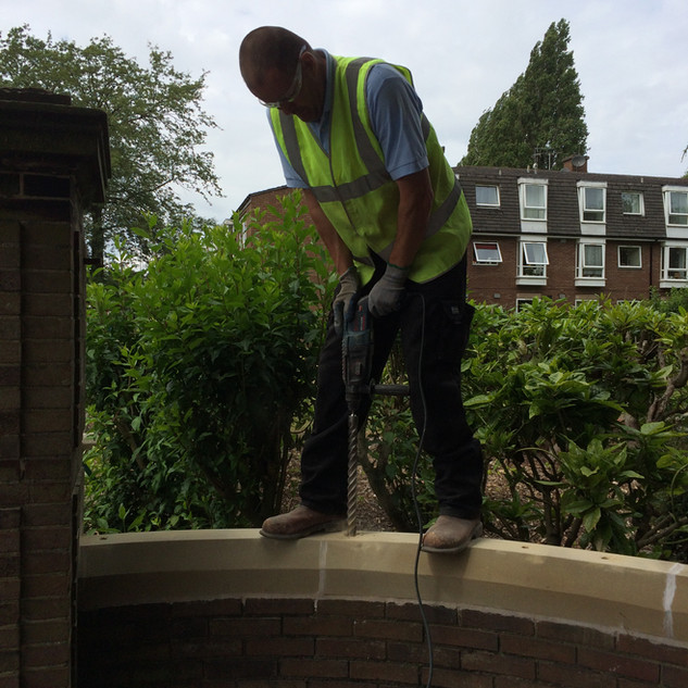 New coping stones and railings