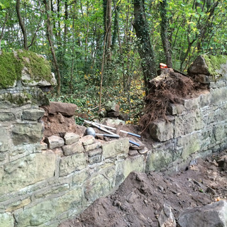 Repair job on boundary wall in Arrowe Park