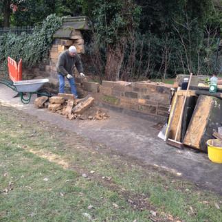Sandstone wall rebuild