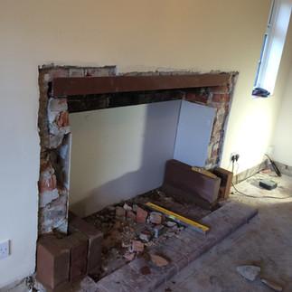 New sandstone fireplace