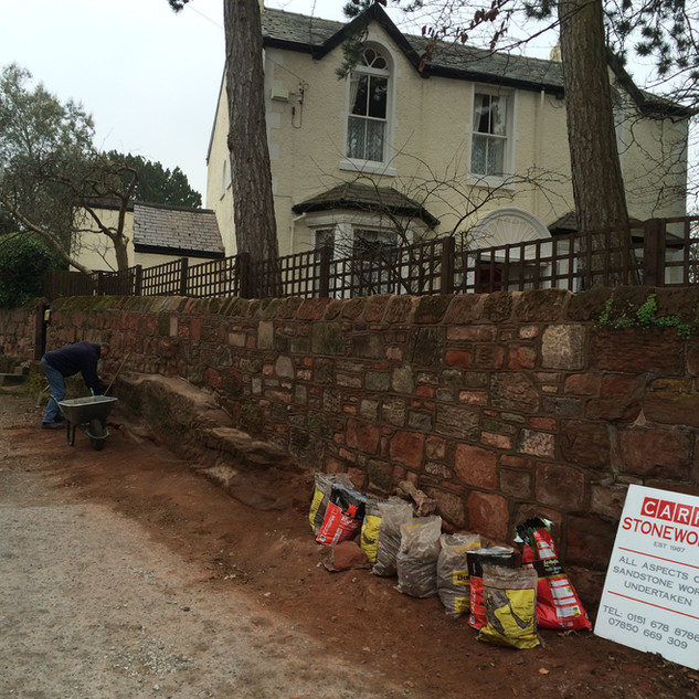 Wall collapse in Heswall