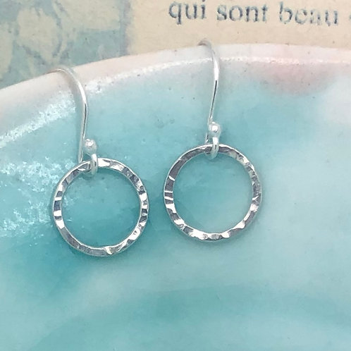 Textured Circle Drop Earring