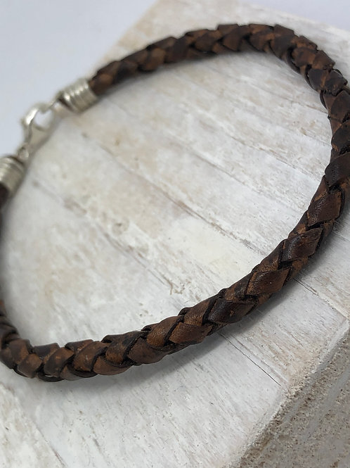 Men's Plaited Distressed Leather Bracelet