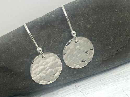 Hammered Dome Pattern Disk Drop Earrings