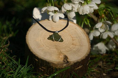 Green Triangular Sea Glass Pendant
