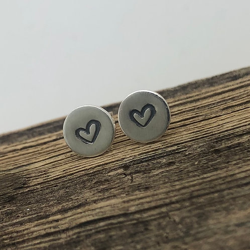 Tiny Heart Stamped Stud Earrings