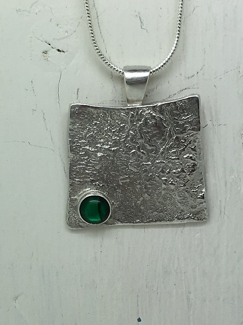 Rippled Square Pendant With Stone