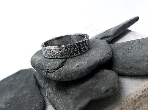 Men's Rippled Oxidised Finish Ring