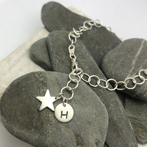 Circles Chain Bracelet with Star and Initial Charms