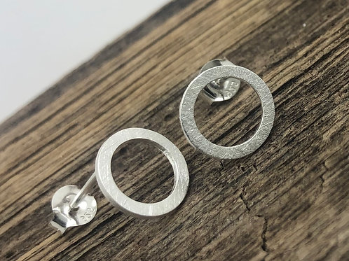Flattened Circle Stud Earrings