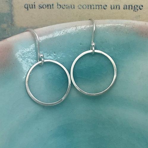 Silver Circle Drop Earrings