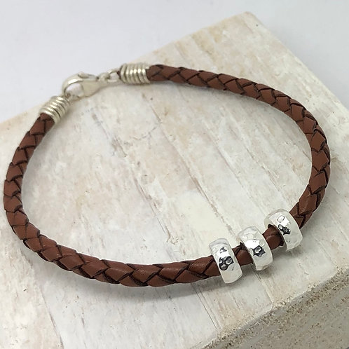 Men's Plaited Leather Bracelet with Beads