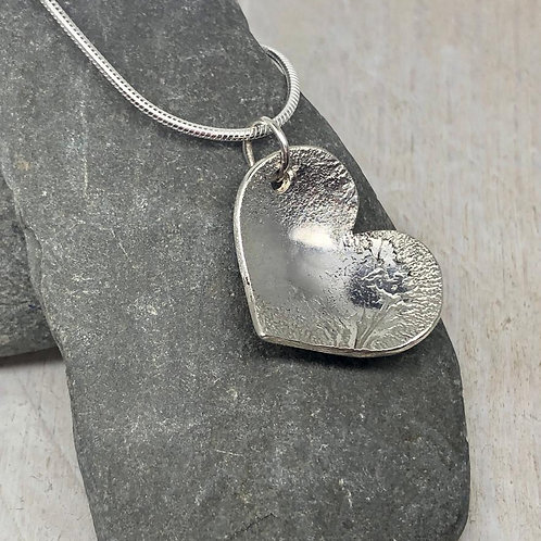 Domed Silver Heart Pendant